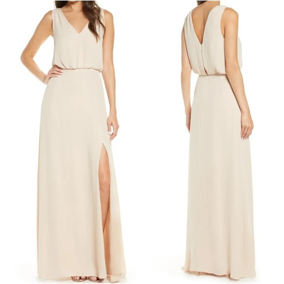 WAYF The Bella Blouson Column Gown In Blush